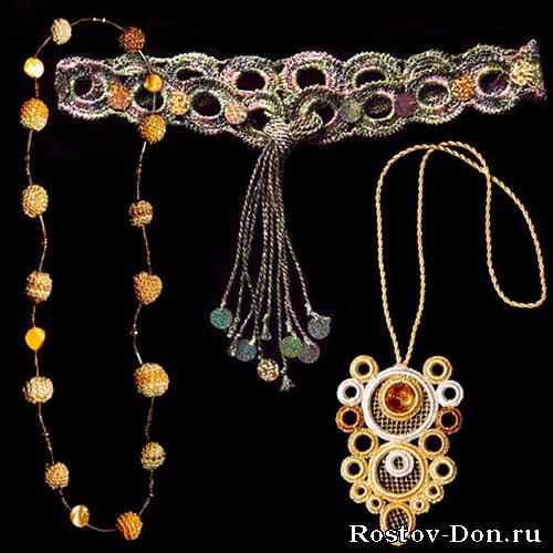 Вязаные украшения на заказ: колье, бусы, пояса и пр...